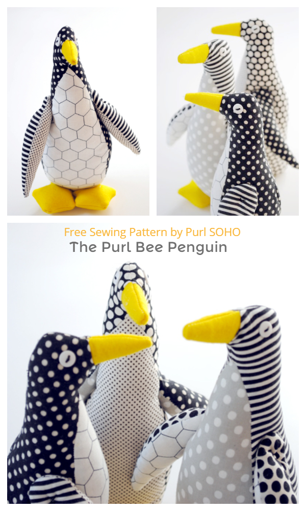 DIY Stuffed Penguin Toy Free Sewing Patterns & Tutorials