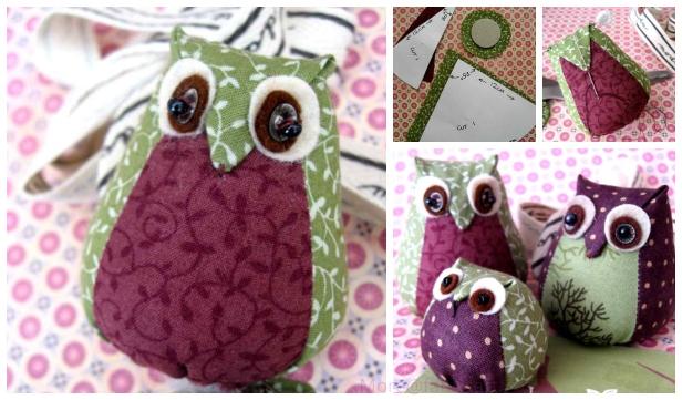 fabricartdiy DIY Fabric Owl Plush Toy Free Sew Pattern ft