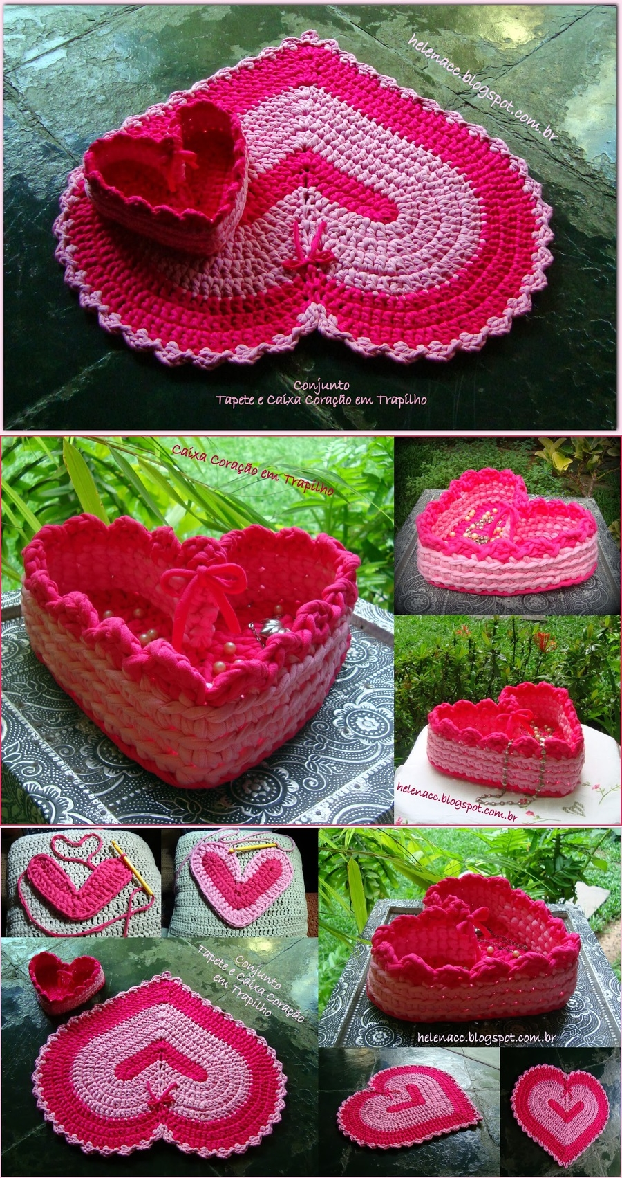 Crochet Heart Basket & Rug In One Free Crochet Chart
