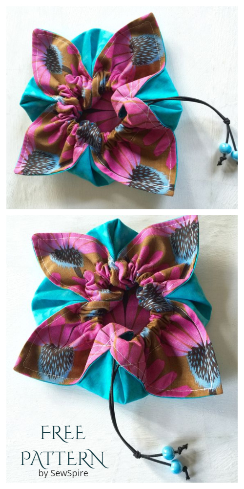 DIY Easiest Fabric Flower Petal Gift Pouch Free Sewing Patterns