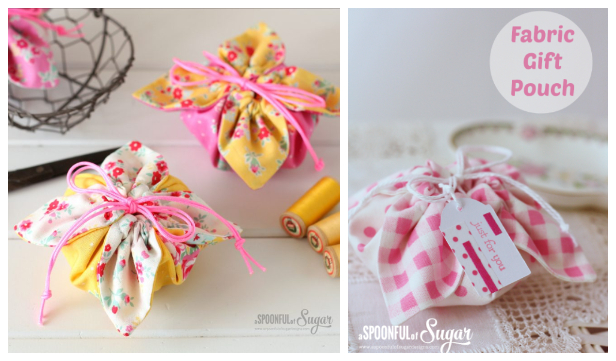 DIY Easiest Fabric Gift Pouch Free Sewing Patterns