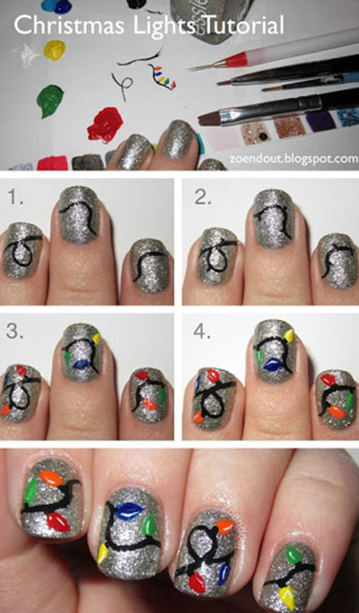 Christmas Lights Nail Tutorial