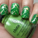 Christmas tree marble nail