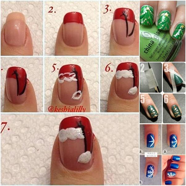 20 cutest christmas nail art diy ideas fabric art diy diy christmas nail art prinsesfo Images