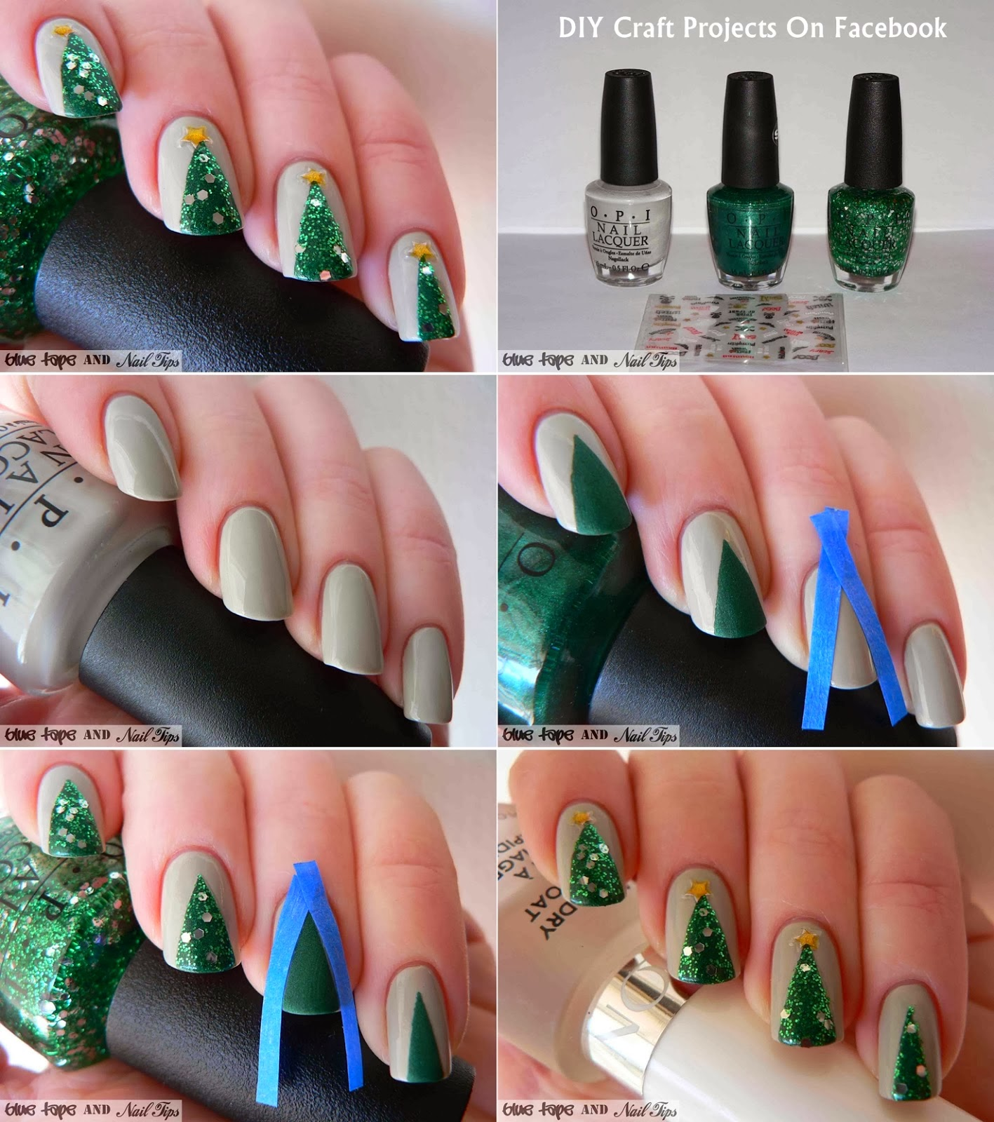 Easy Christmas Tree Nail Art 2