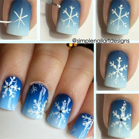 Winter snowflake Nail Art Tutorial