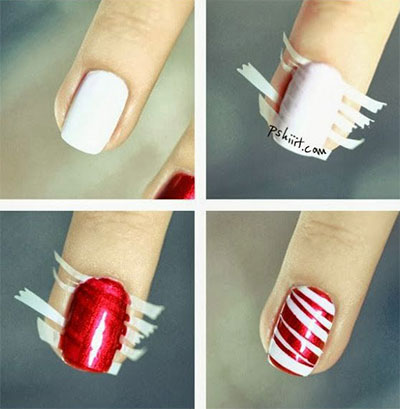 christmas stripe nail art