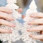 hint of glitter on nude polish