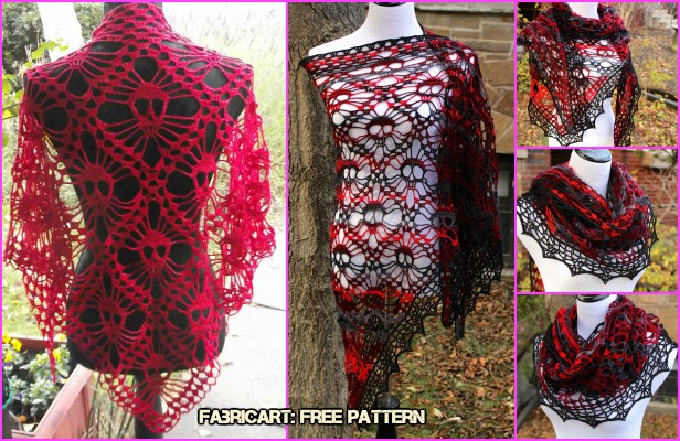 Crochet Skull Shawl Free Pattern Video