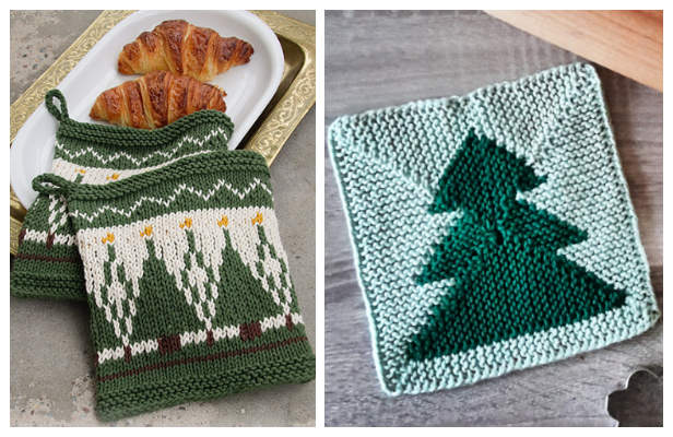Knit Christmas Tree Potholder Free Knitting Patterns