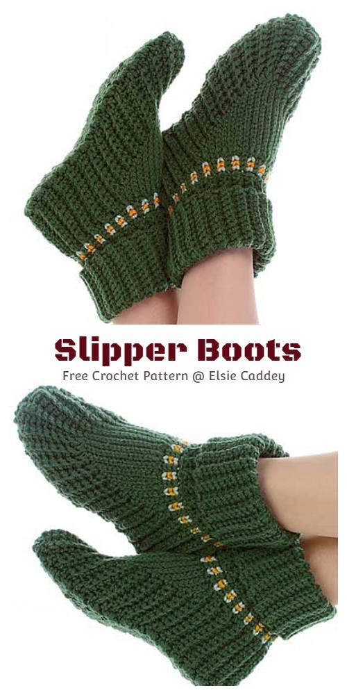 Holiday Women Slipper Boots Free Crochet Pattern