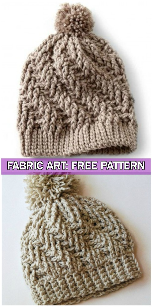 Crochet Stepping Texture Winter Hat Free Pattern With Video