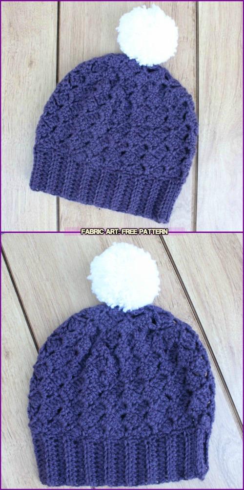 Crochet Side Saddle Stitch Berry Hat free pattern