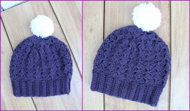 Crochet Side Saddle Stitch Berry Hat free pattern