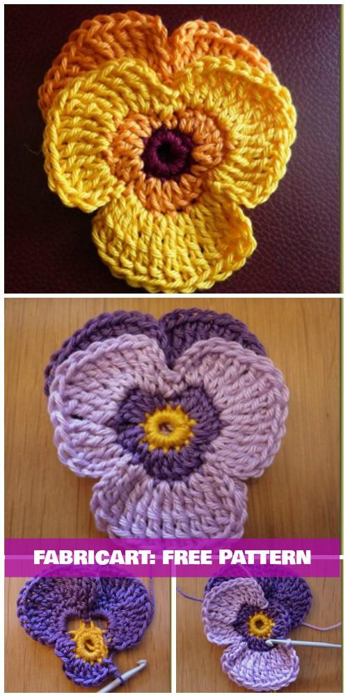 Crochet Pansy Flower Free Pattern