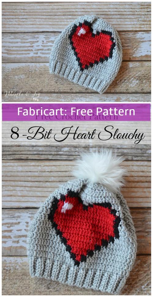 Crochet 8-Bit Heart Slouchy Hat Free Pattern