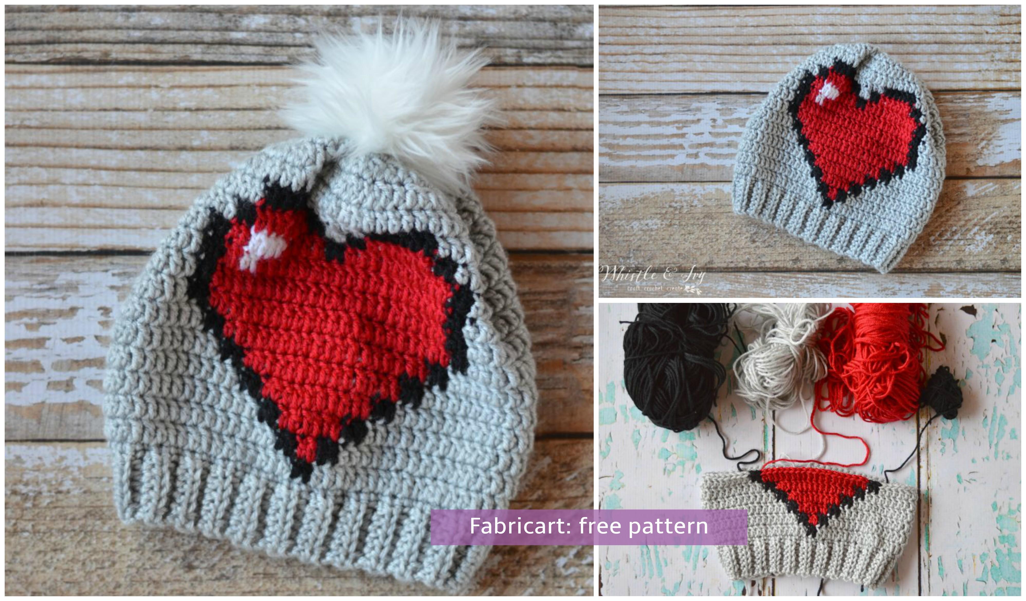 Crochet 8 bit heart slouchy hat free pattern bankloansurffo Images