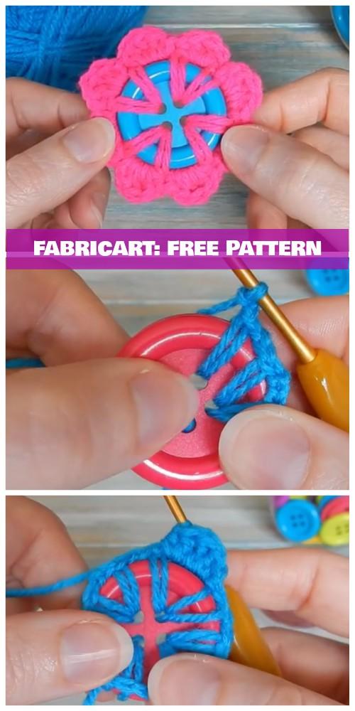 Crochet Button Flower Free Pattern VideoTutorial