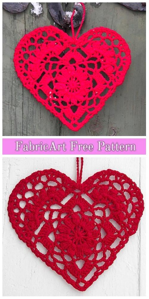 Crochet Heart Christmas Ornament Free Pattern