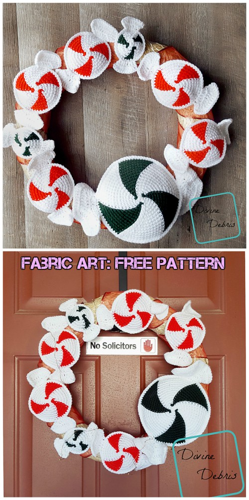 Crochet Peppermint Candies Wreath Free Pattern