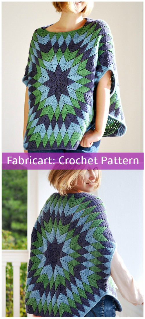 Crochet Star Over Poncho Pattern