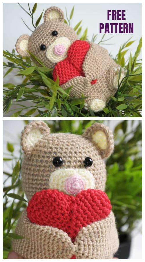 Crochet Valentine Heart Teddy Bear Free Pattern