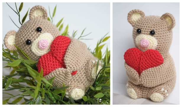 Crochet Valentine Heart Teddy Bear Amigurumi Free Pattern