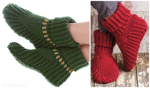 Crochet Holiday Women Slipper Boots Free Crochet Pattern