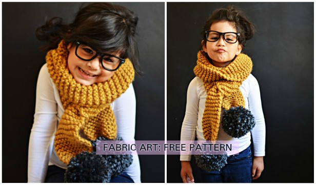 DIY Easy Chunky Knit Pom Pom Scarf Free Pattern Tutorial