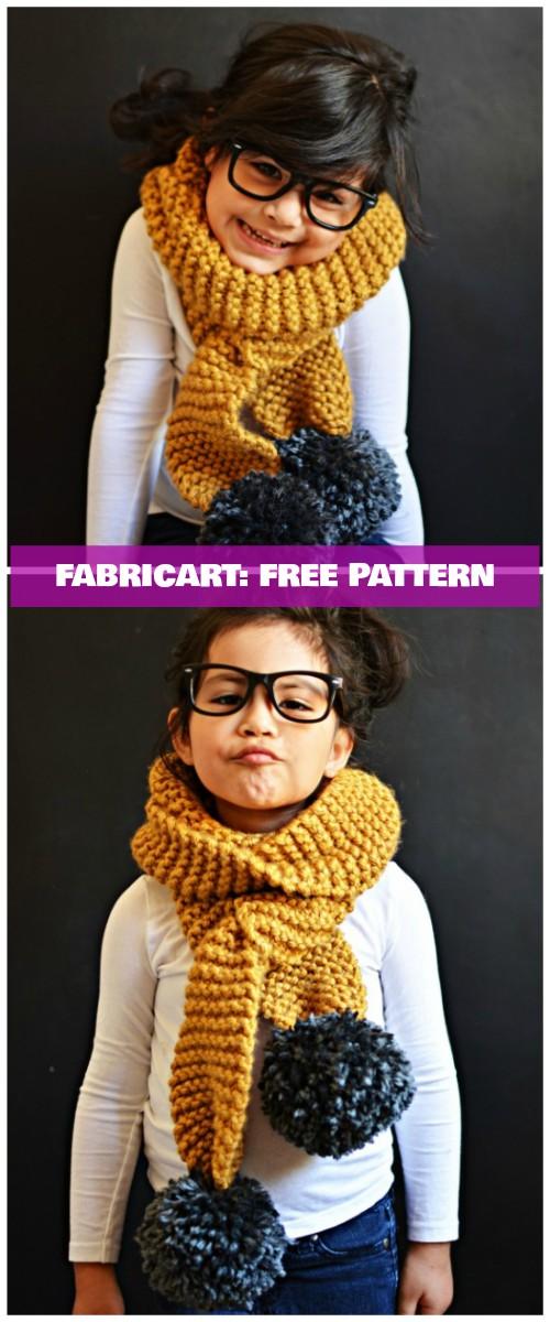 Easy Chunky Knit Pom Pom Scarf Free Pattern
