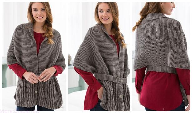 Vintage Knit Sweater Wrap Free Knitting Pattern