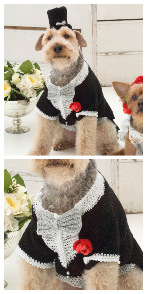Puppy Barking Groom Tuxedo And Top Hat Free Crochet Pattern