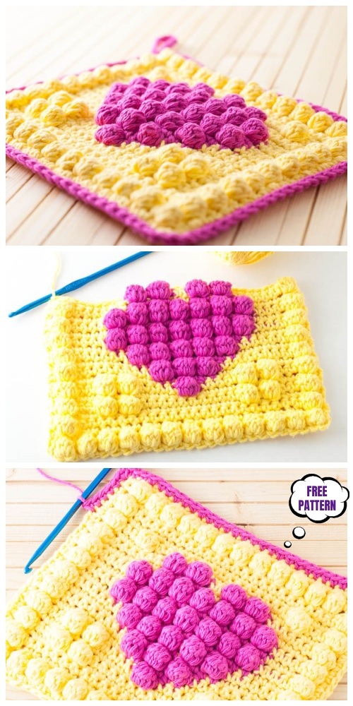 Crochet Bobble Heart Potholder Free Pattern