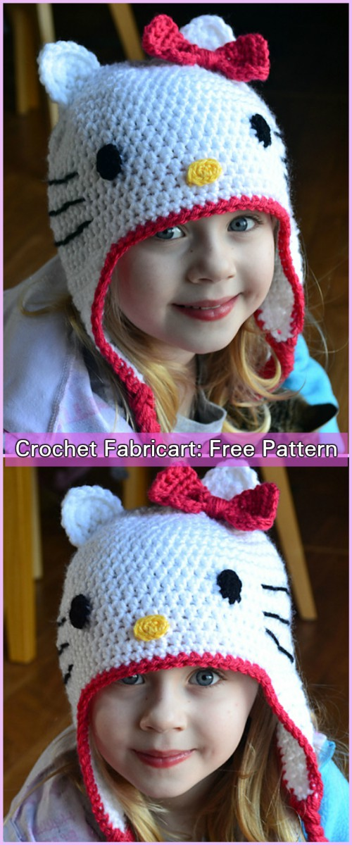 Crochet Hello Kitty Hat Free Pattern