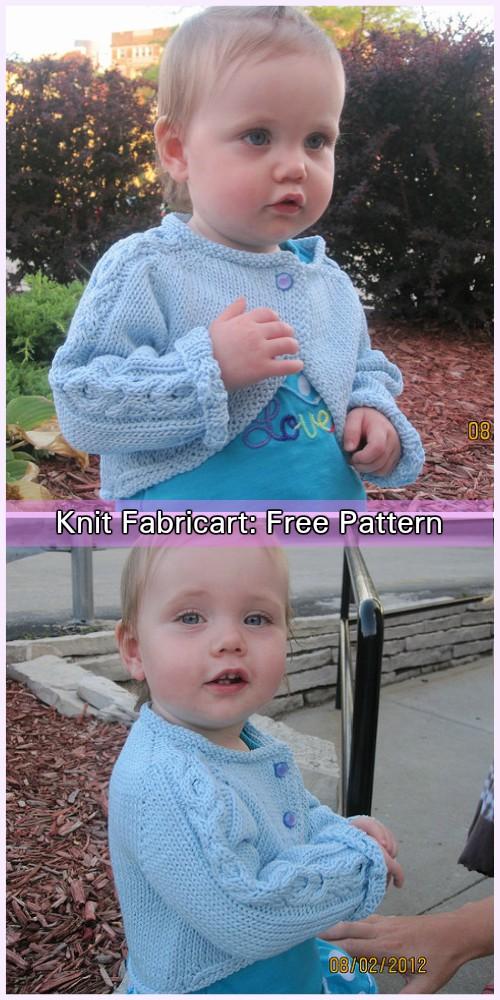 Knit Baby Hugs & Kisses Bolero Sweater Cardigan Free Knitting Pattern