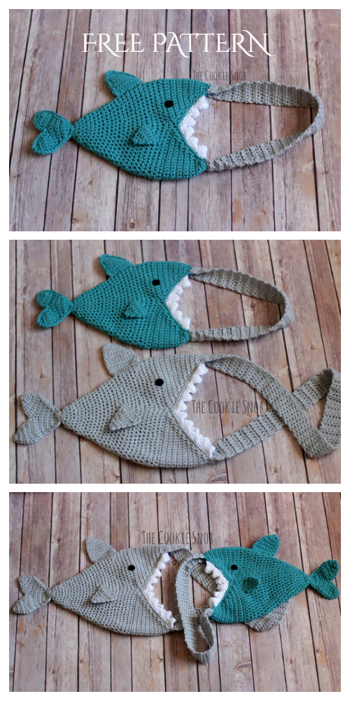 Crochet Kids Shark Bag Free Pattern