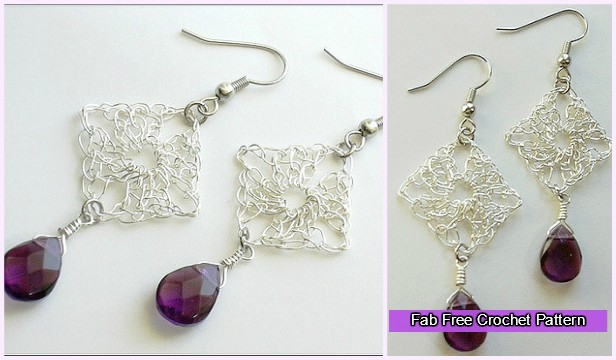 Crochet Wire Granny Square Earrings Free Pattern