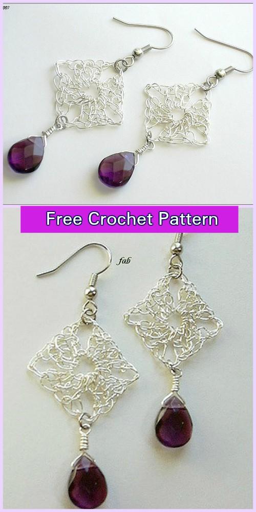 Crochet Wire Granny Square Earrings Free Pattern
