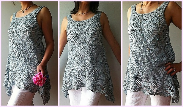 Crochet Pineapple Stitch Sleeveless Top for Ladies