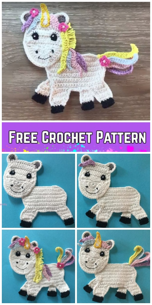 Crochet Rainbow Unicorn Applique Free Crochet Pattern - Video