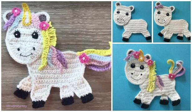 Crochet Rainbow Unicorn Applique Free Crochet Pattern - Video
