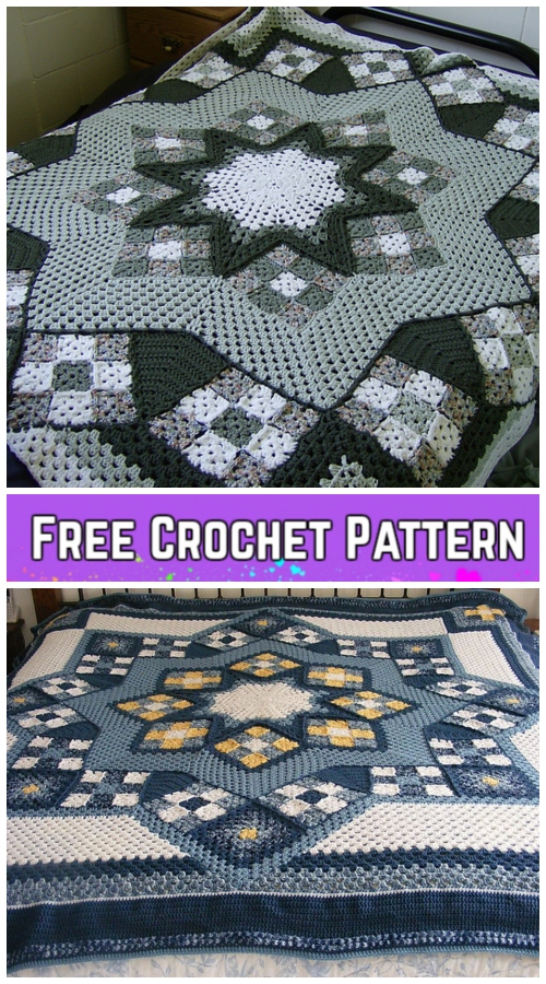 Blue Star Afghan Blanket Crochet Free Pattern