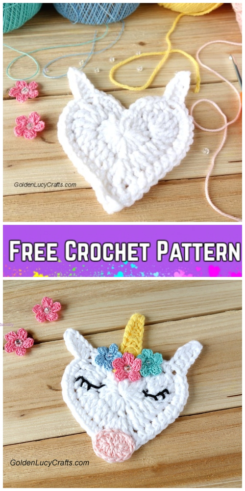 Crochet Heart Shaped Unicorn Applique Free Crochet Pattern