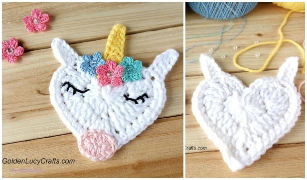 Crochet Heart Shaped Unicorn Applique Free Crochet Pattern