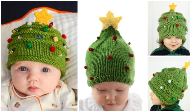 Baby Christmas Tree Hat Free Knitting Patterns