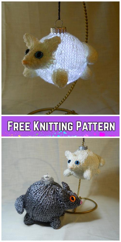 Knit Christmas Bear & Cat Bauble Ornament Free Knitting Patterns