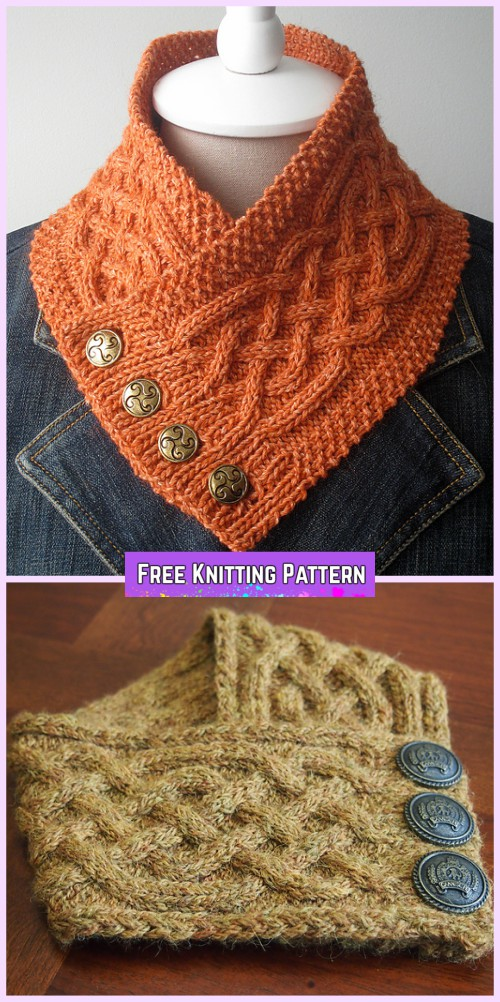 Knit Celtic Cable Neckwarmer Free Knitting Pattern