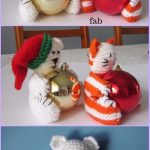 Knit Christmas Bear & Cat Bauble Ornament Free Knitting Patterns