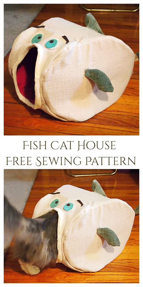DIY Fish Cat House Free Sewing Pattern & Tutorial