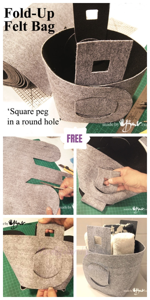 DIY No-Sew Fold Up Felt BagFree Pattern & Tutorial